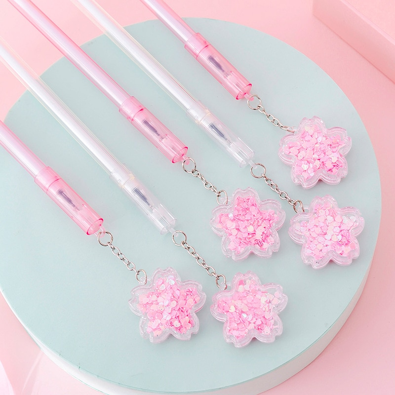 4 unids/lote colgante de lentejuelas de flor de cerezo bolígrafo de gel de tinta negra pluma de firma Escolar Papelaria suministro de oficina Escolar regalo promocional