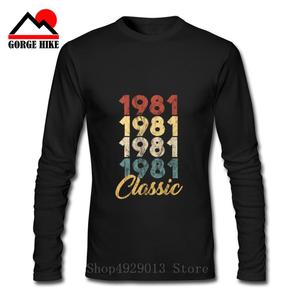 3D Classic 1981 Limited Edition Gold Design Men's Black T-SHIRT Cool Casual pride Long Sleeves men New Fashion tshirt Loose Size