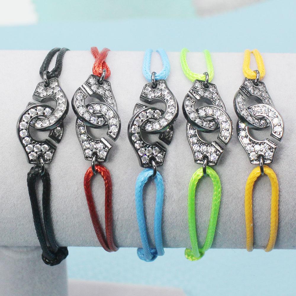 França popular 925 prata esterlina preto punho com zircão pulseira para mulher corda prata pulseira menottes apenas 925 selo