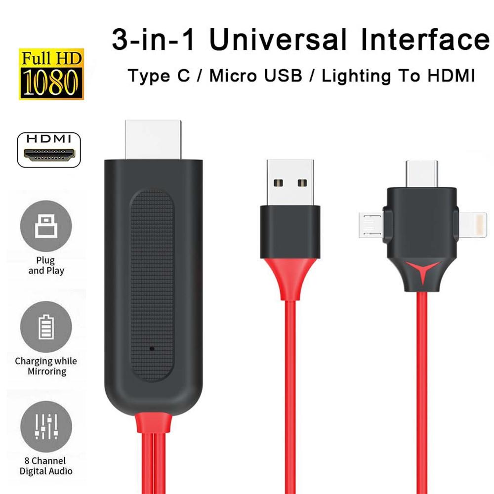Tres-en-uno HD video convertidor de cable adaptador de cable para iPhone iPad iluminación Android Teléfono Micro USB tipo C a HDMI FHD 1080P @ 60Hz