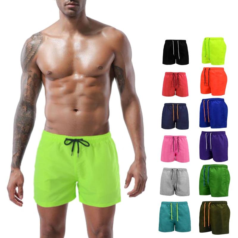 Beach Shorts Men Trunk Summer Short Pants Solid Breathable Quick Dry Swim Shorts Surfing Men Thigh Length S-4XL Plus Size Shorts