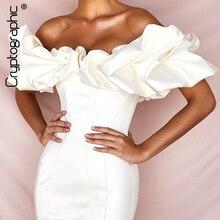 Cryptographic Womens White Dresses Solid Off Shoulder Ruffle  Mini Dress Autumn 2019 Ladies Bodycon Dress Elegant Party Dresses