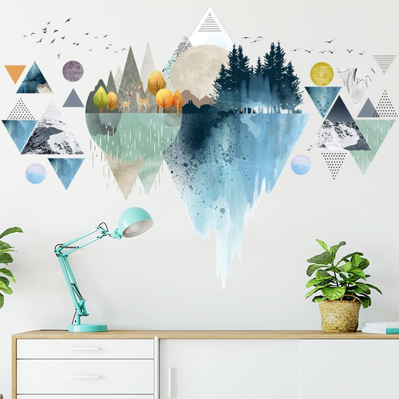 Wall Sticker Vinyl Decals For Living Room And Bedroom Triangle Wall Decals Couple Bunny Removable Living Room Bedroom Wallpaper