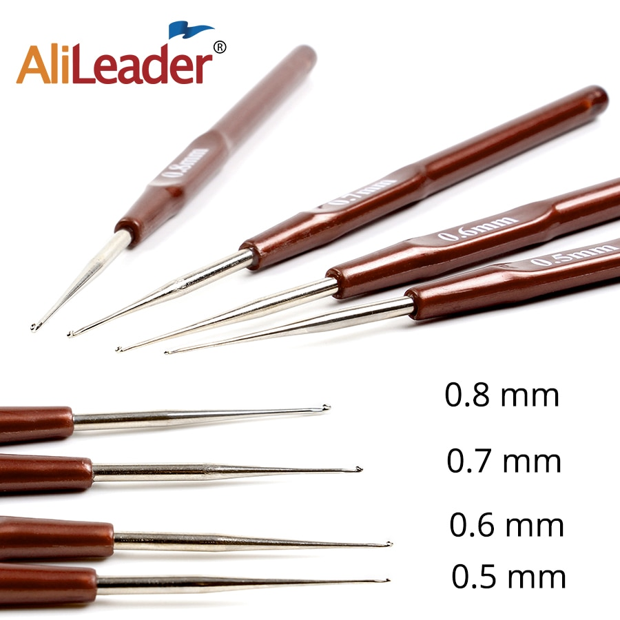 5pcs set latch hook crochet needle for wig braided wooden handle hair extension linking micro rings hook needle set styling tool Alileader Crochet Hook 14Cm Needle Holder Crochet Needles Plasticized 4Pcs/Lot Crochet Braids Wig Needle For Hair Extension Tool