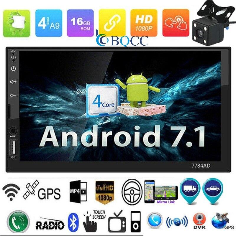 Autoradio 7in 2Din Bluetooth Android 7,1 coche estéreo MP5 MP4 jugador GPS FM/AM Radio + Mapa