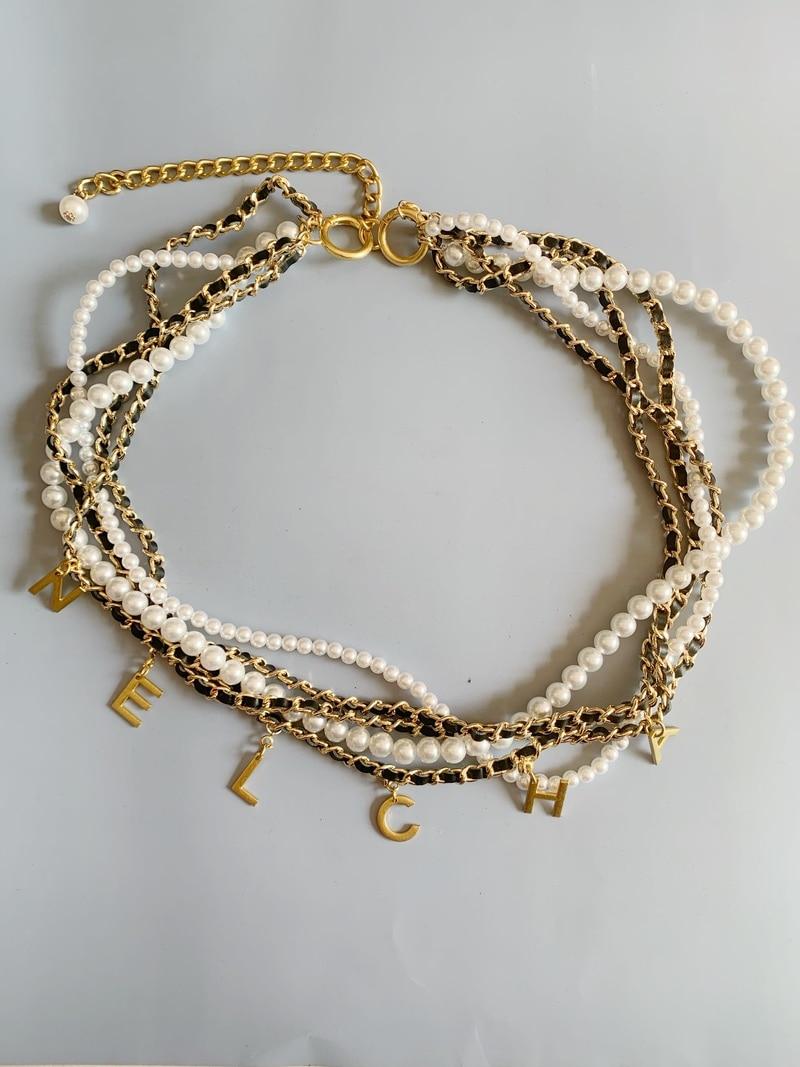 Women's Luxury Designer NELCHA Metal Pearl Weave Waist Chain Gold Corset Belts for Female Jeans Dress Girls Gift Centure Femme