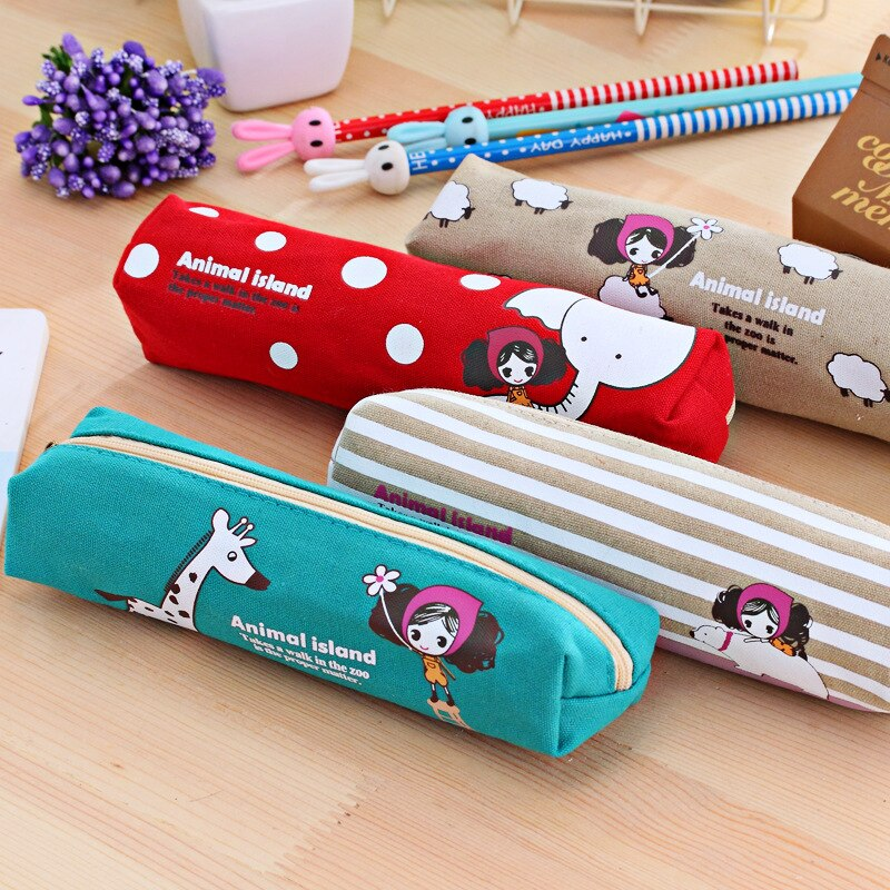 Cute Girl Pencil Case Cartoon Kawaii Pencil Pouch Student Korean Stationery