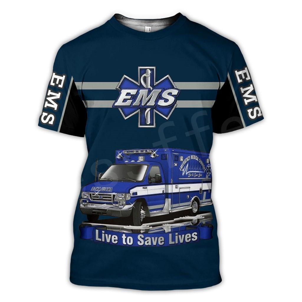 Tessffel Notfall Medizinische Service Techniker EMT EMS Rettungssanitäter Hero Neue Mode Unisex Casual 3DPrint Kurzarm T-Shirts s-5