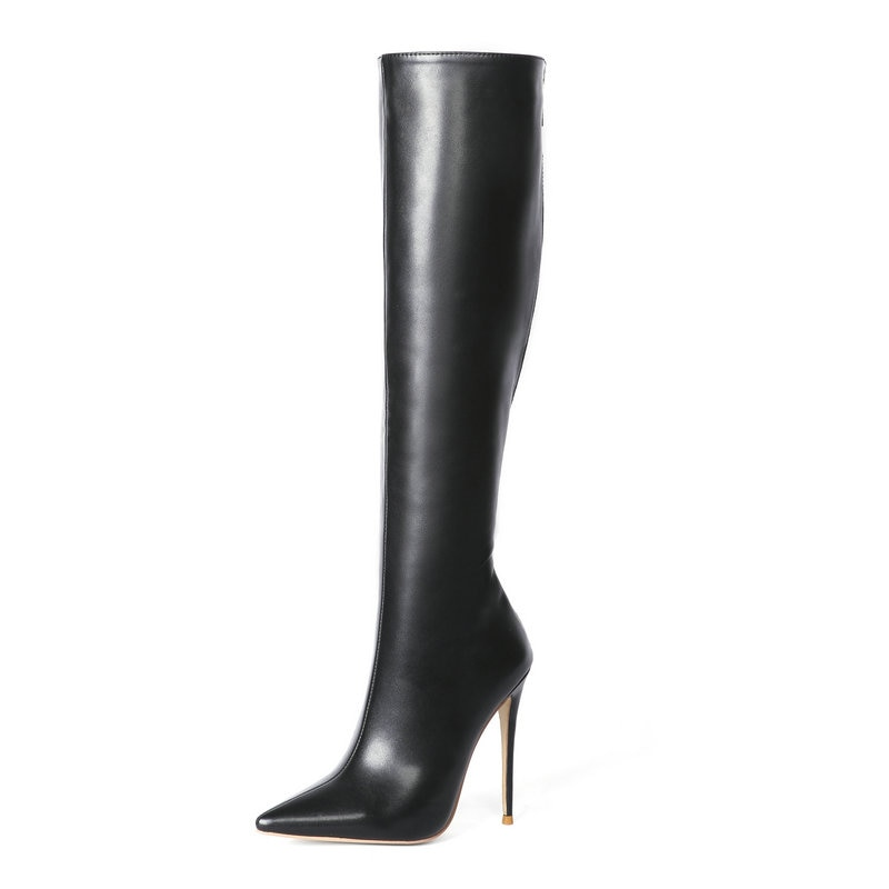 Sexy Super High Heel Knee High Boots Faxu Leather Women Boots Zipper Pointed Toe Long Boots Autumn Winter Ladies Shoes