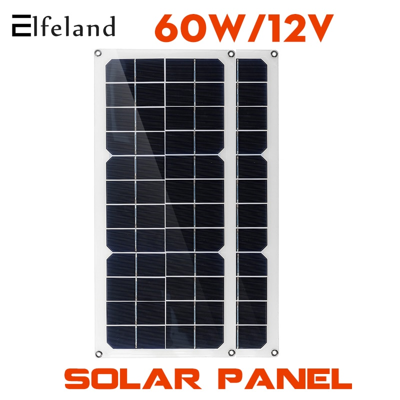 30W/60W 30A Controller Solar Panel 12V Monocrystalline USB Power Outdoor Solar Cell Car Ship Camping Hiking Travel Phone Charger