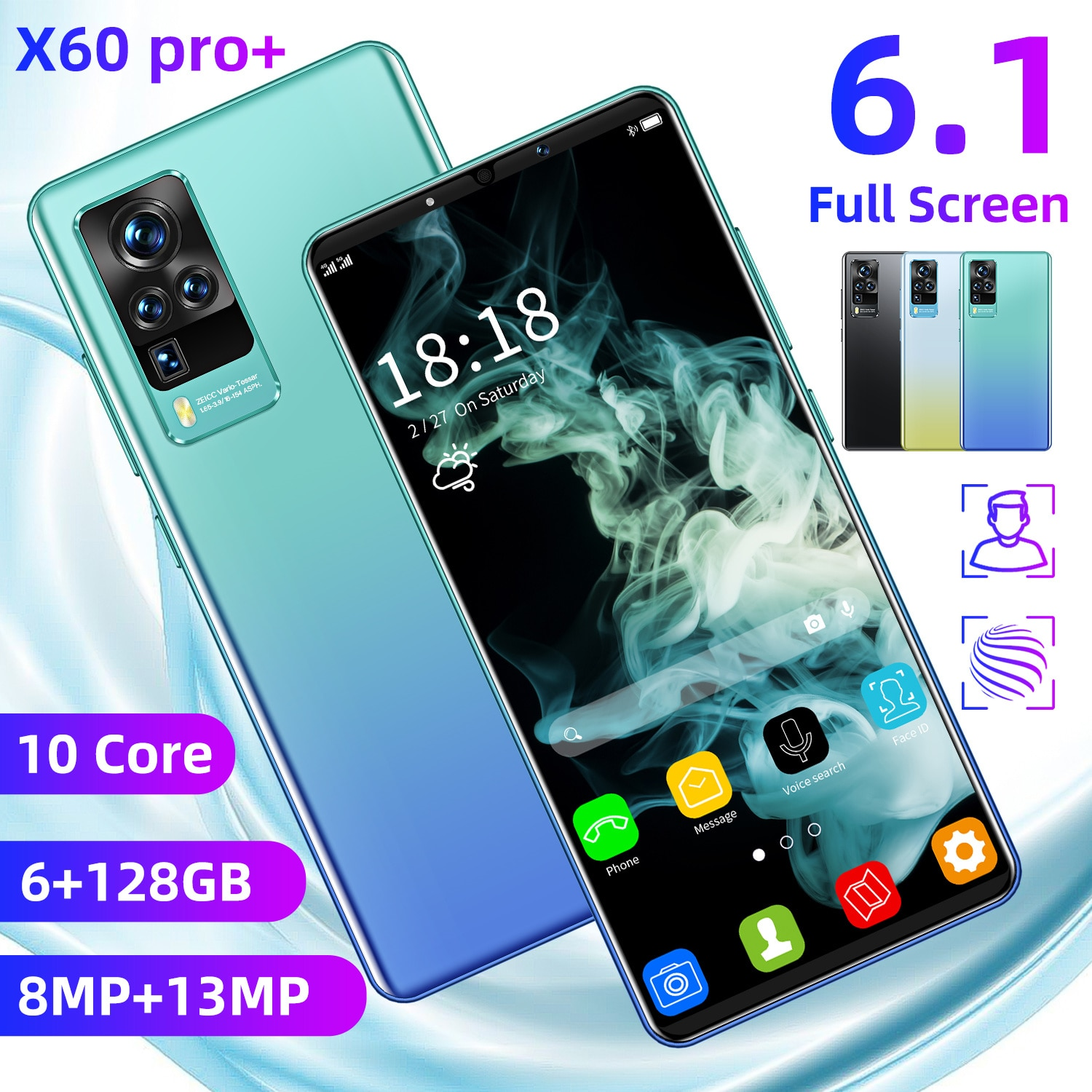 New Arrival X60 Pro+ 6.1 Inch 6GB RAM 128GB ROM 8MP+13MP 5200mah Andriod 10.0 Smart Phone 1440*3200