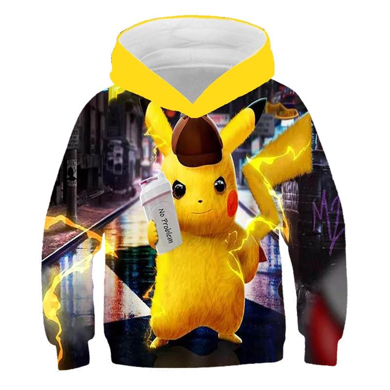 ¡Novedad de 2020! Sudaderas con capucha de Pikachu en 3D de Pokémon, Sudadera con capucha de pikachu Kawaii, sudadera con dibujos animados de estilo coreano Harajuku, abrigos de Anime