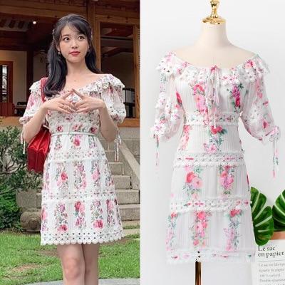 Shoulder Broken flowers Dress for women DEL LUNA Hotel same IU Lee Ji Eun in summer temperament woman TV Korean same dress