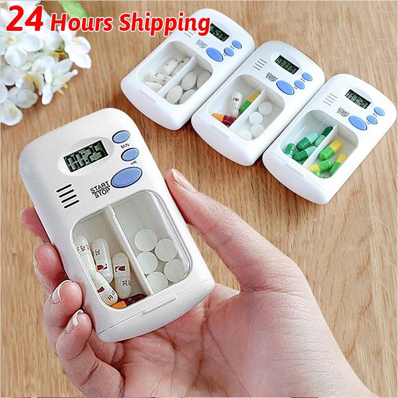 2021 New Timer Box Mini Portable Pill Storage Plastic Weekly Pillbox Medication Organizer Alarm Cases
