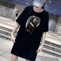 dress queen girl print mini ladies loose summer t shirt dresses korean short sleeve streetwear casual pullover robes