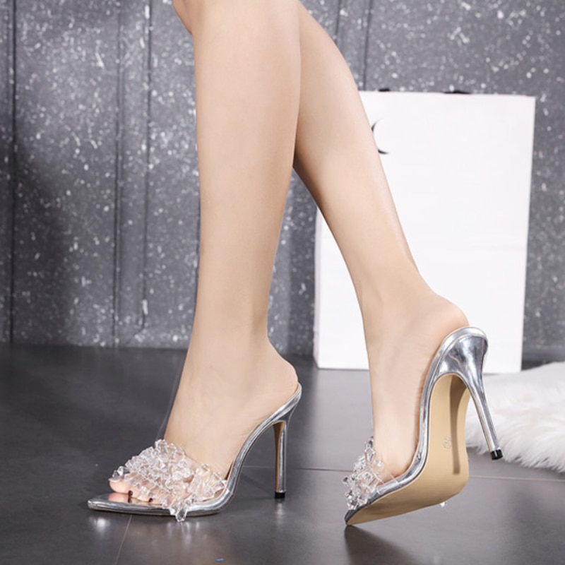 Summer Women New  Transparent Crystal Women Slippers Summer Pointed Toe High Heels Sexy Slides Ladies Party Sandals Pumps Shoes недорого