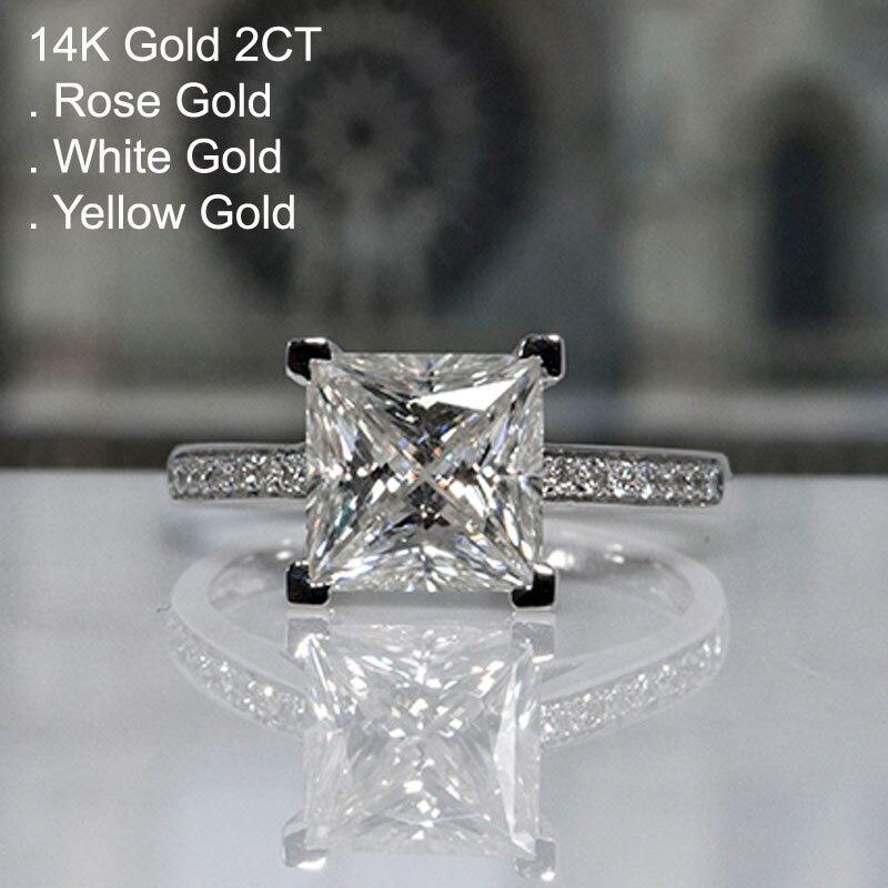 Anillo de diamante Moissanite de 2 quilates de oro blanco de 14K, corte cuadrado de princesa para mujer, anillo de aniversario de compromiso para fiesta de boda, Color D de 2 Ct