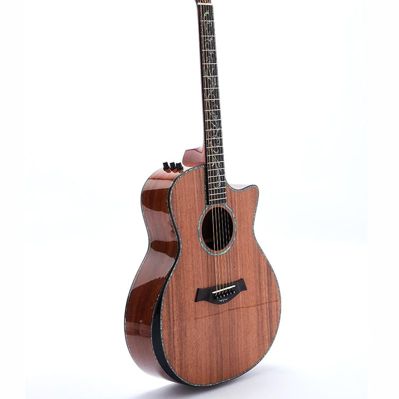 Perfect Full solid Koe Electric Acoustic Guitar PS Style Ablone Inlay Ebony Fingerboard Bone Nut&Bridge&Saddle B-Band Pickups