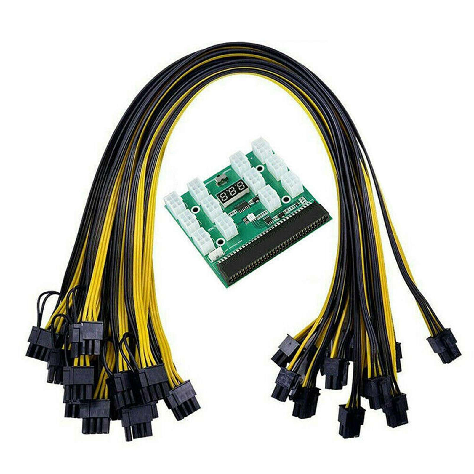 power module breakout board for hp 750w 1200w psu server power conversion 12pcs 6pin to 8pin 18awg power cable for btc Breakout Board Server Adapter PSU Power Supply HP 1200W GPU Mining W/ Cables for DPS-1200FB A DPS-1200QB A PS-2751-LF-1F