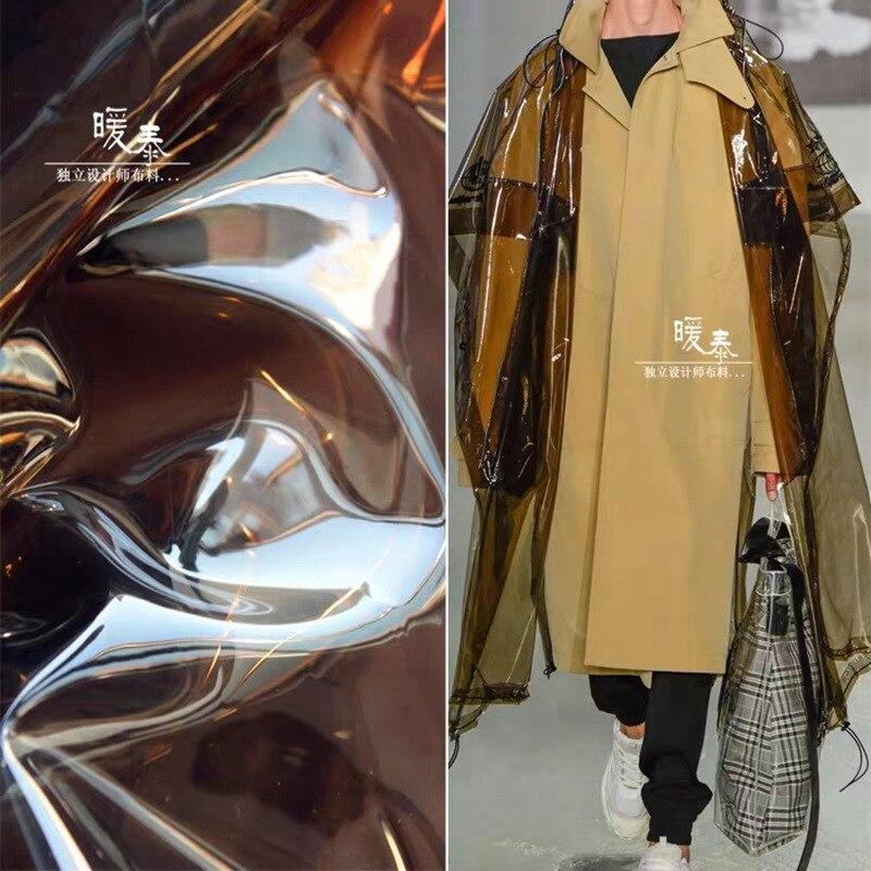 0.3mm Tan TPU Fabric transparent jelly film DIY see-through clothes raincoat waterproof Crystal plastic Bag Designer PVC Fabric