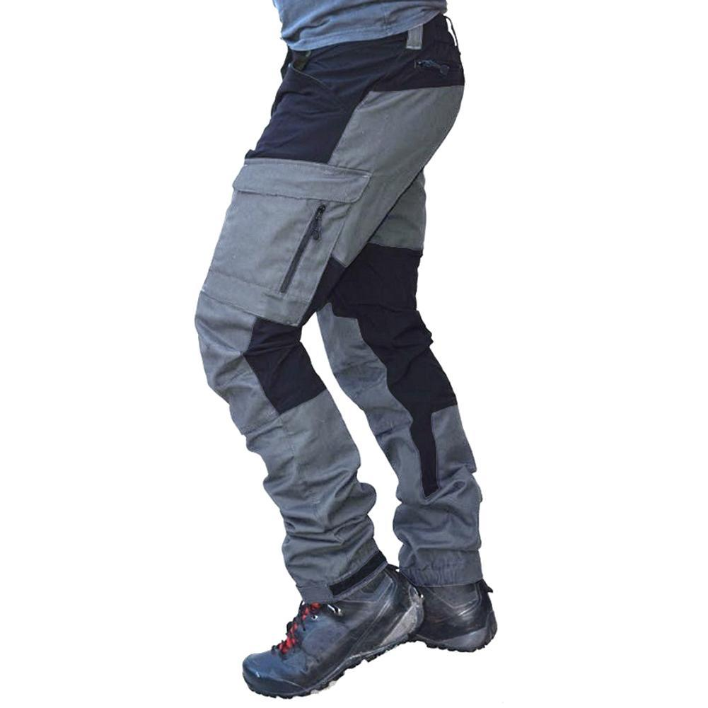 Men Fashion Color Block Multi Pockets Sports Long Cargo Pants Work Trousers Cycling Mountain Climbing Sports Men pants
