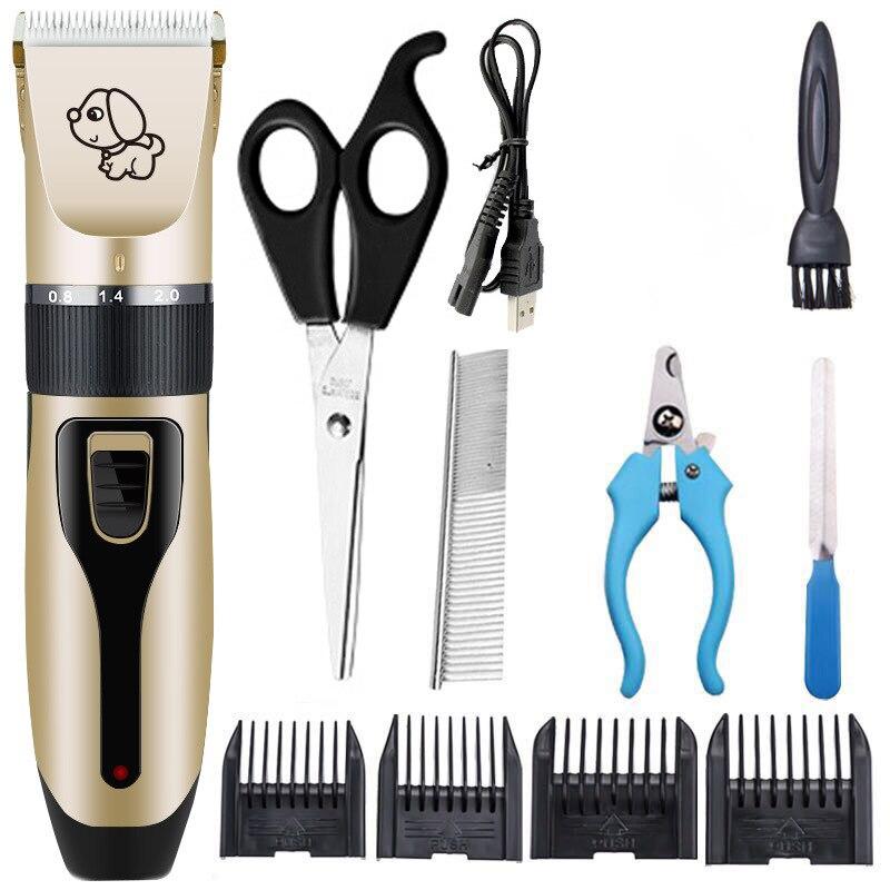 11 piezas Fannie, cortaúñas de alta potencia para mascotas, afeitadora para perros, afeitadora recargable para mascotas, Fader profesional eléctrico