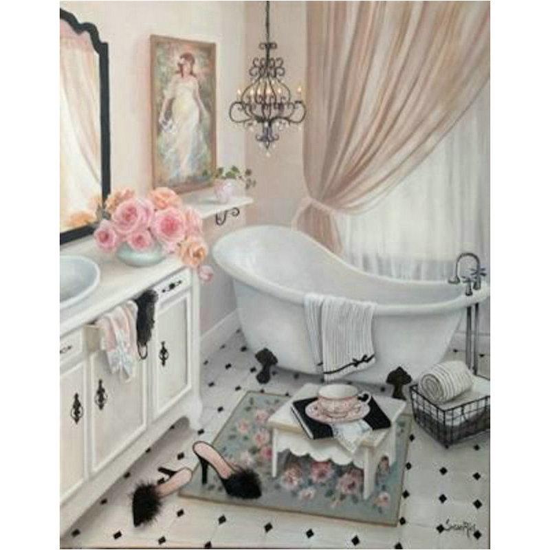 Pintura de diamantes DIY para baño, mosaico de diamantes, Kit de punto de cruz, pintura de diamante para bañera, patrón de bordado de diamantes 5D BY192