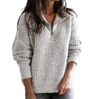 skin friendly stylish oversized lady sweater soft coat zipper for winter