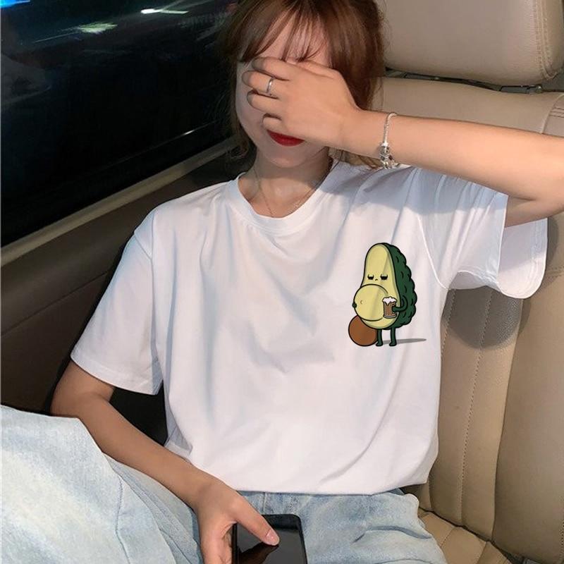 Avocado Vegan T Shirt Women Harajuku Funny Cartoon T-shirt Ullzang Korean Style Small Fresh Tshirt 90s Fashion Top Tees Female