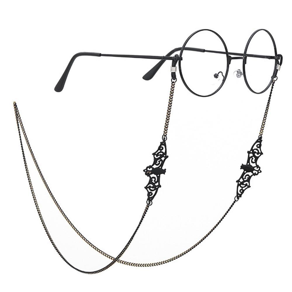 Cadenas de protección solar con forma de murciélago para mujer, accesorios de gafas de lectura, cuerda colgante, color negro, Retro