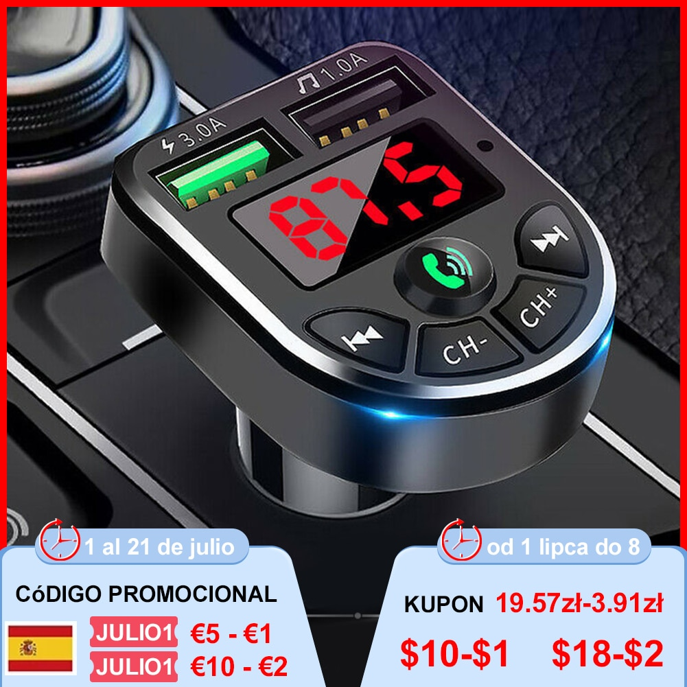 1Pc FM Transmitter 5.0 Car Player Kit Car MP3 Player with 1.1 Display Dual USB(1A/3.1A) Supports TF/