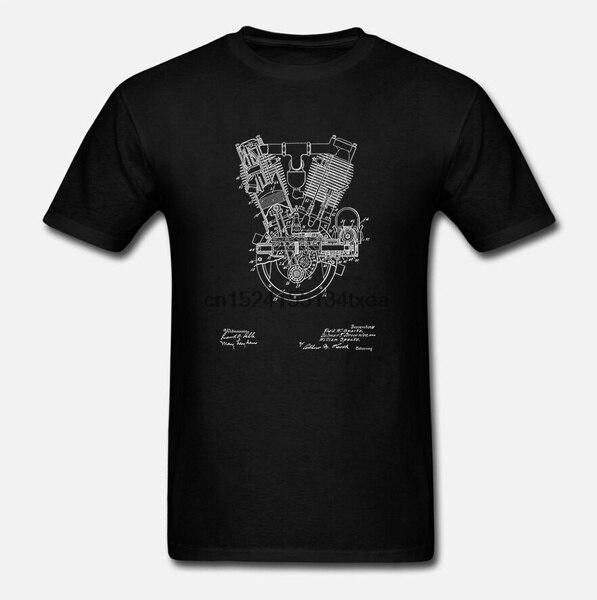 Футболка Мужская/Женская винтажная, тенниска с лакированным рисунком двигателя внутреннего сгорания