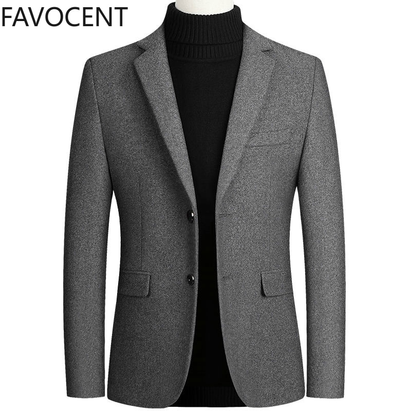 High Quality Men's Wool Suit Coat Wool Blends Casual Blazers Men Suit Top Male Solid Business Casual