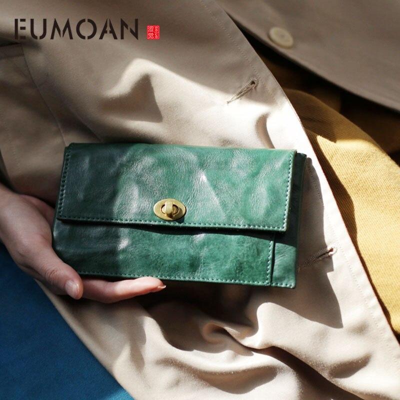 Bolsa de Cartão Eumoan Vintage Couro Fivela Longa Dismered Carteira Senhoras Minimalista Ultra-fino