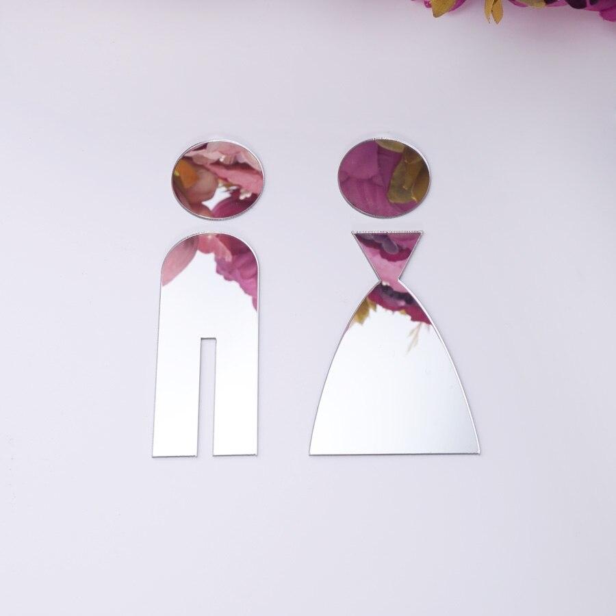 1 set 3D Wc Tür Zeichen Männer Frauen Acryl Holz Bad WC Spiegel Oberfläche Wand Aufkleber Hause Dekoration