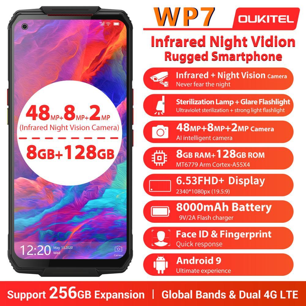 Перейти на Алиэкспресс и купить OUKITEL WP7 IP68 прочный водонепроницаемый смартфон 6,53 дюймFHD мобильный телефон 48MP Тройная камера 8 Гб 128 ГБ инфракрасное ночное видение 8000 мАч