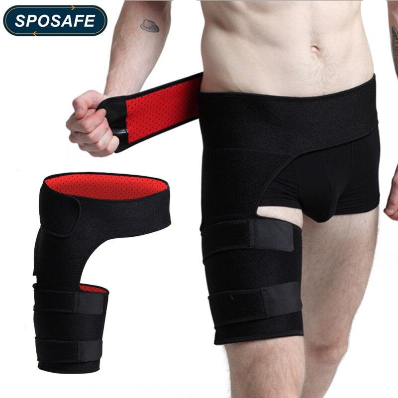 Suporte da virilha sposafe-suporte ajustável da cintura do envoltório da compressão da coxa-cinta do hamstring para a tração muscular da dor da perna do nervo ciático