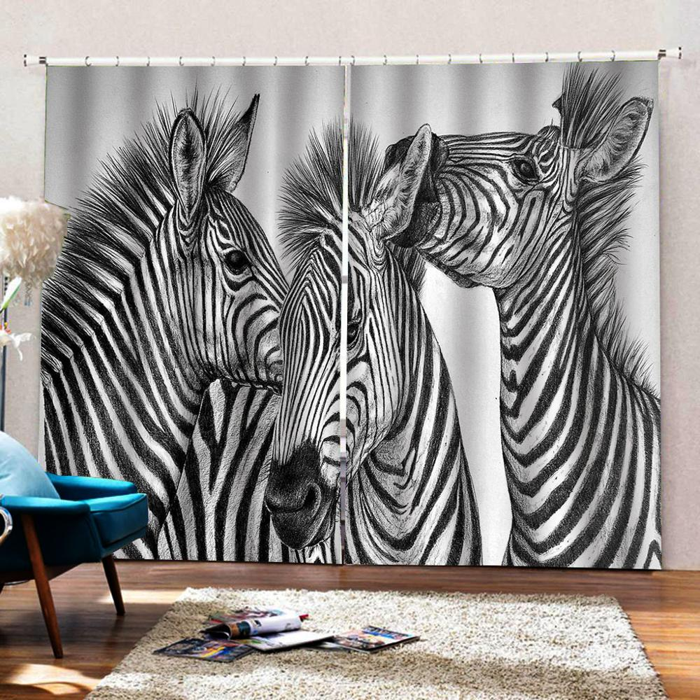 Negro anuncio blanco impreso Blackout 3D Cortinas para sala de estar diseño de tigre niños Cortinas de dormitorio moderno Hotel KTV Cortinas