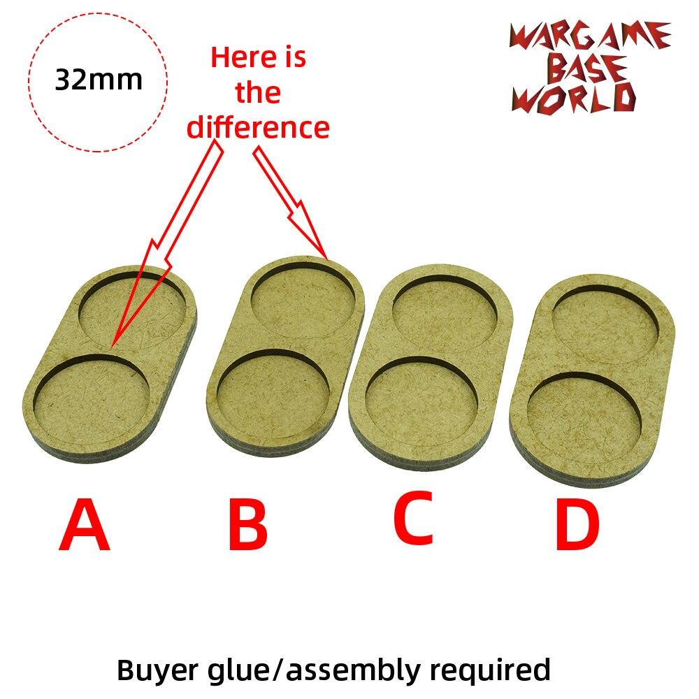 Wargame Basis Welt-Bewegung Tablett-2 runde 32mm - 4 sets linie form