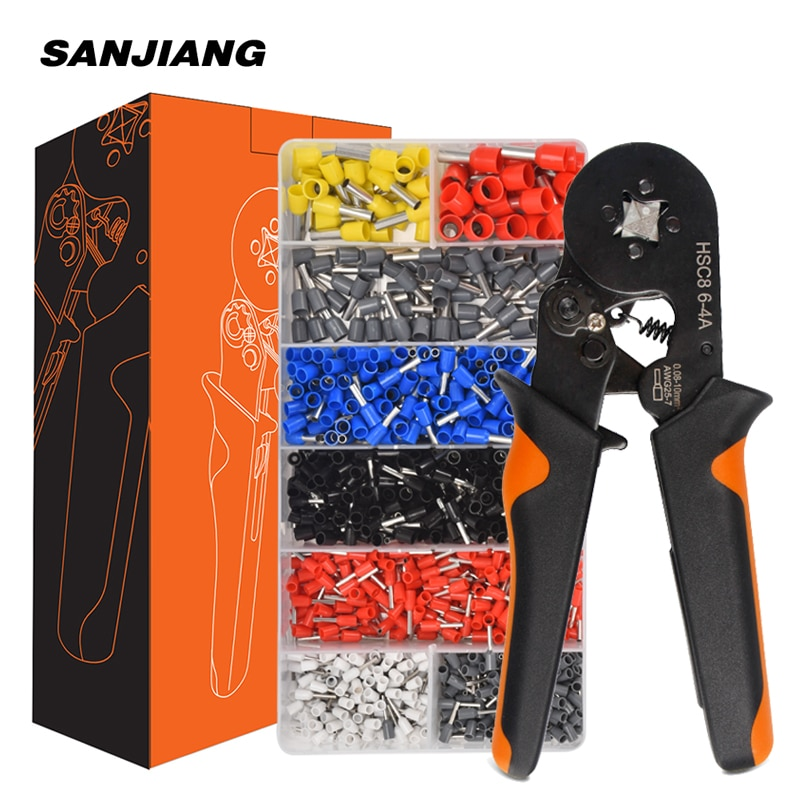 crimping tool set crimp tools wire crimping tool kit ferrule crimping plier tools 1200pcs wire ferrule terminals kit 0 25 10mm² HSC8 6-4A ferrule Crimping Pliers 0.25-10MM² wire crimper tool Wire Stripper Hand Ferrule Crimp set Plier KIT With1200 Terminals