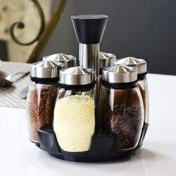 Tempero de vidro frasco caixa conjunto rotativo caixa cozinha sal tempero jar em pó