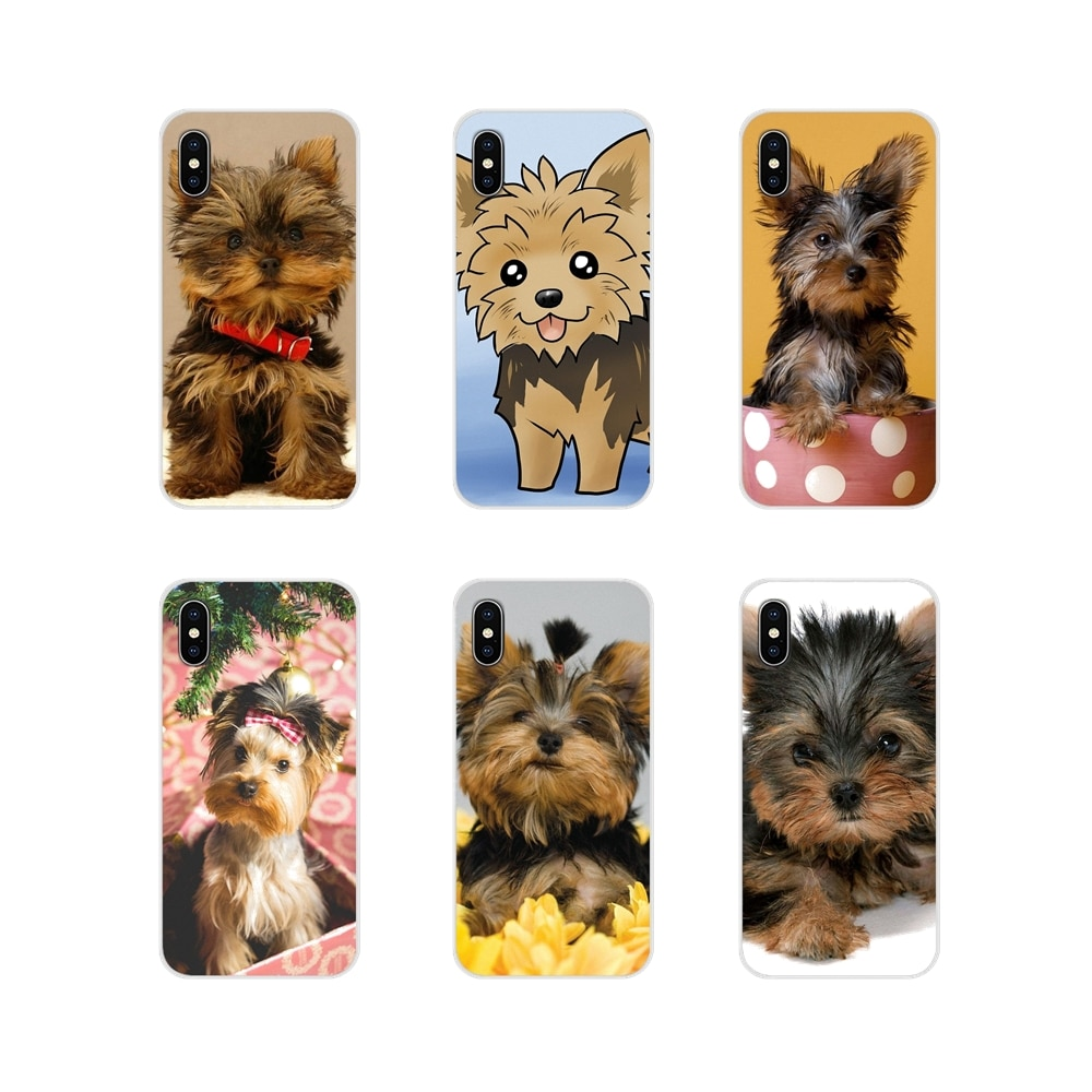 Caso de la piel del teléfono lindo pequeño yorkshire terrier perro cachorro...