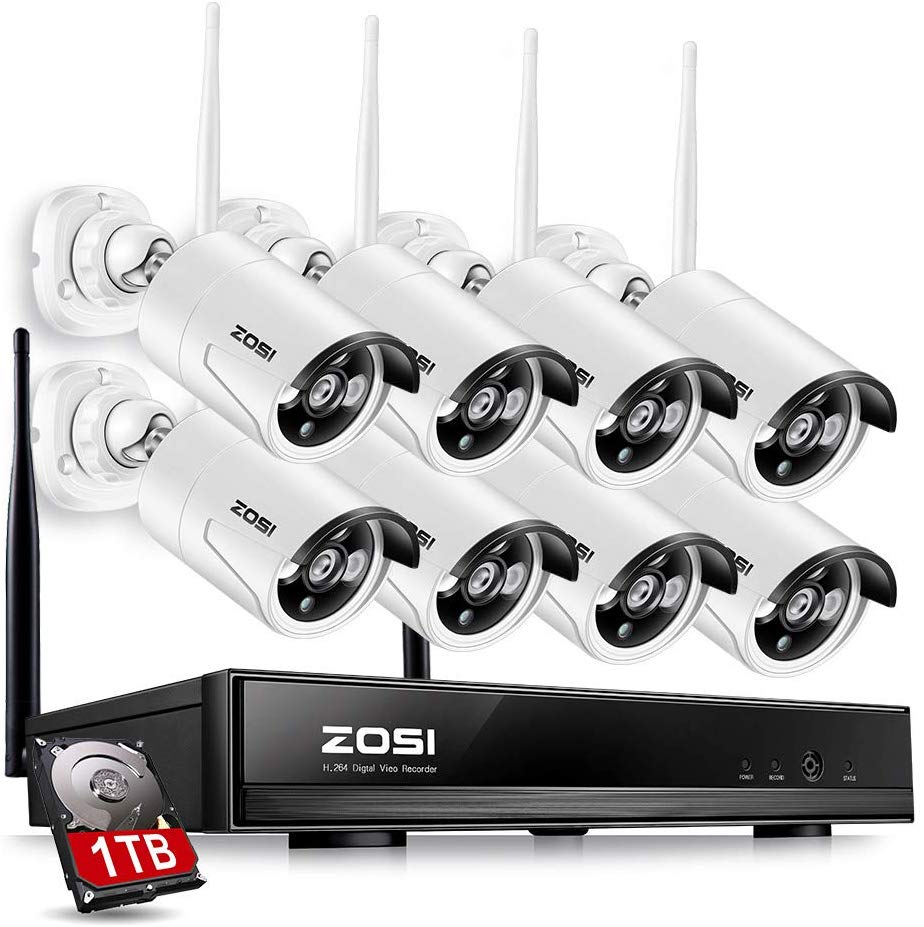 jooan security camera system wireless nvr kit wifi cctv system 4ch 1080p 2 0mp p2p indoor outdoor ip camera surveillance kits ZOSI 8CH CCTV System Wireless 1080P NVR 8PCS 1.3MP IR Outdoor P2P Wifi IP CCTV Security Camera System Video Surveillance Kit