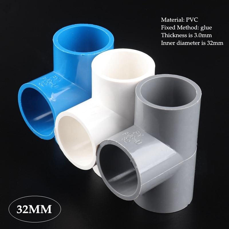 2-25 uds 32mm de PVC tubo igual tee las articulaciones jardín riego acuario T-tipo de adaptador de tubo accesorios conector de tubería de agua