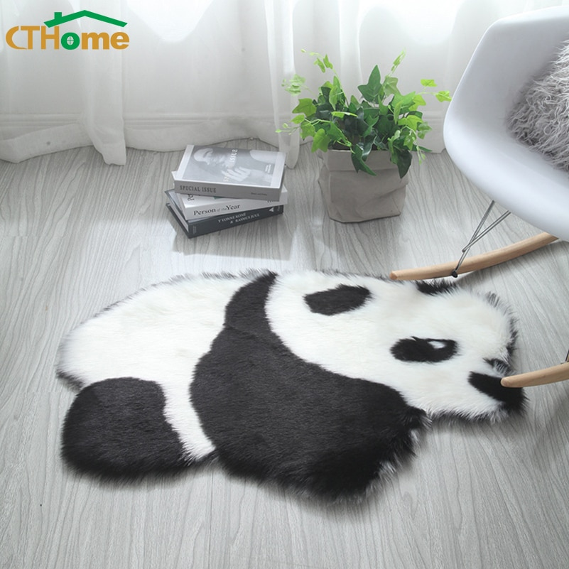 Alfombra suave antideslizante con forma de Panda animal Koala para sala de estar, alfombra moderna, cojín, alfombras mullidas artificiales, Alfombra de piel sintética