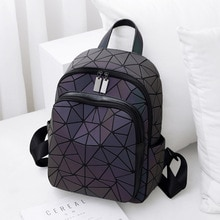 Holographic Backpack Luminous Geometric Bag Reflactive Women Purses Handbag for Girl Student Traveli