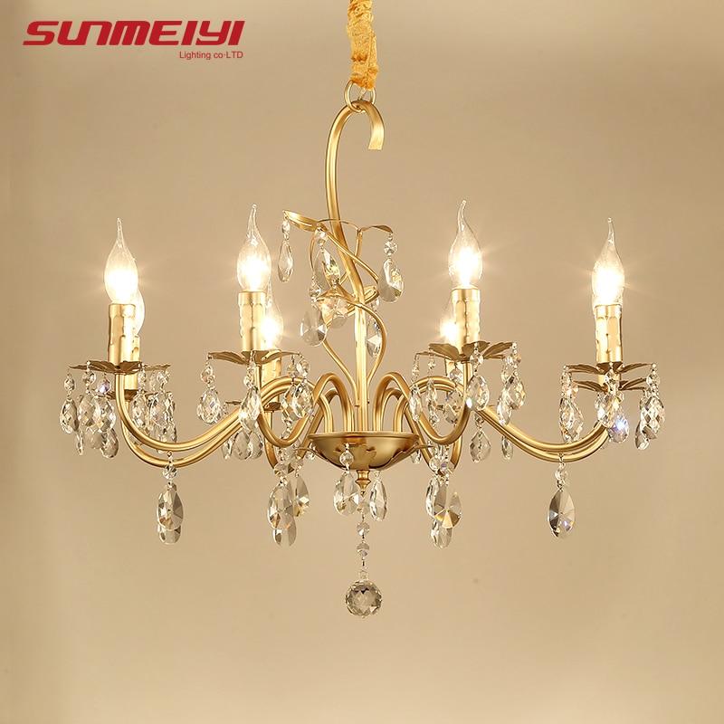 Luxury Crystal Gold Chandeliers For Study Living room Kids Bedroom Vintage LED Loft Lamp Modern Chandelier lustre industrial