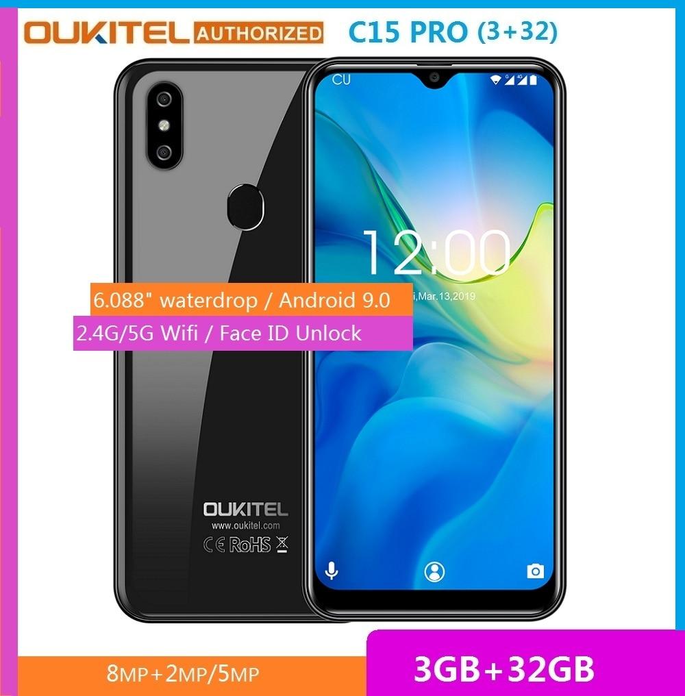 Перейти на Алиэкспресс и купить Смартфон OUKITEL C15 Pro, 3 Гб ОЗУ 32 Гб ПЗУ, Android 9,0 Pie, Android 9,0, процессор MT6761 Waterdrop, сканер отпечатка пальца, Face ID, мобильный телефон с Wi-Fi, с функцией «ид...