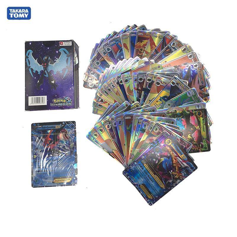Takara Tomy Pokemon 300 Uds. GX tarjetas Flash EX tarjetas clásicas Plaid Flash Pokemon tarjeta coleccionable regalo niños juguete