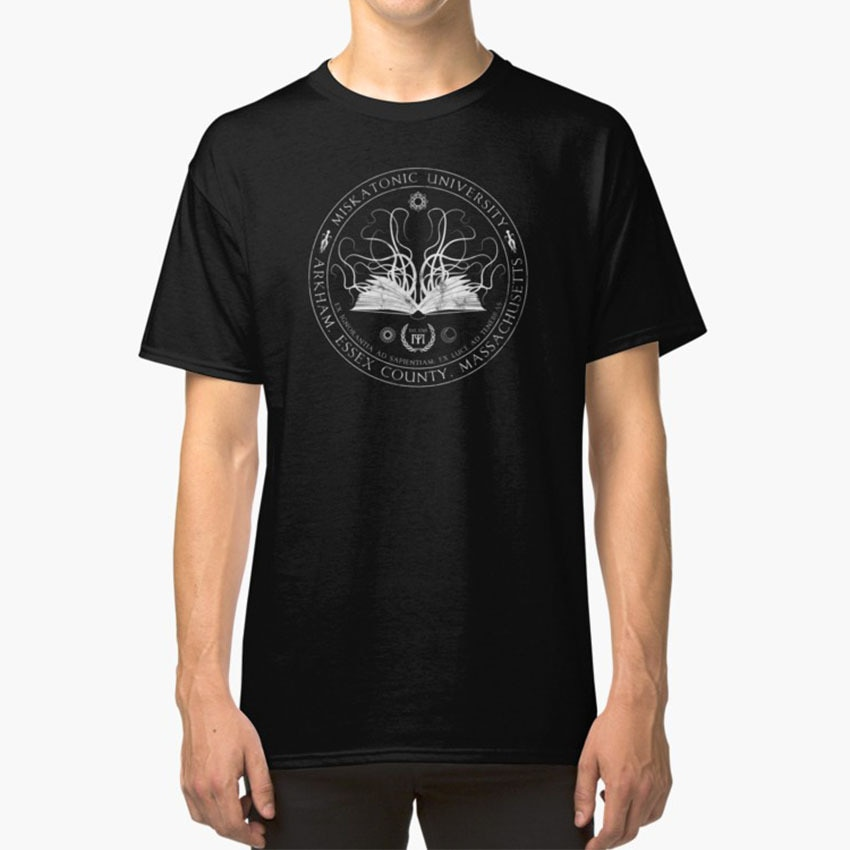 Camiseta Miskatonic Sigil de la Universidad de Cthulhu de Miskatonic, monstruo gótico de Horror Arkham de masas, llamada de Cthulhu Rpg
